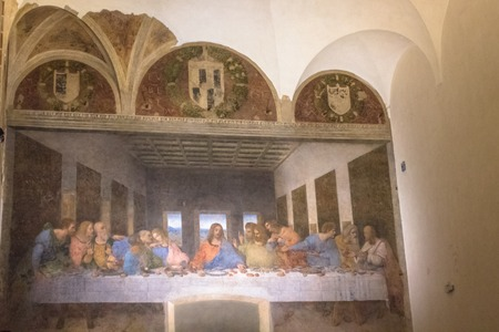 Milan, Italy - November 15, 2016: Last Supper, Jesus and 12 apostles. Bartholomew, young James, Andrew, Judas Iscariot, Peter, John, Thomas, James, Philip, Matthew, Thaddaeus, Simon. center side view. Editorial