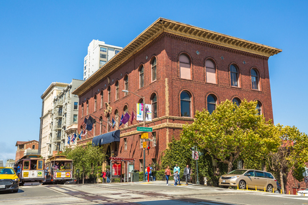 San Francisco, California, United States - August 17, 2016: two Cable Car ride for California and Powell streets, where the three lines intersect in a set double crossovers. Editorial