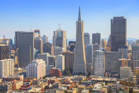 transamerica: San Francisco skyline. Aerial view of Financial District and Transamerica Pyramid from top of Coit Tower on sunny day, California, United States. Coit Tower is atop Telegraph Hill.