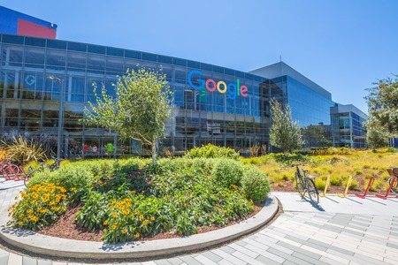 google chrome: Mountain View, California, USA - August 15, 2016: Google sign on one of the Google buildings. Exterior view of a Google headquarters building. Google is specializing in Internet services