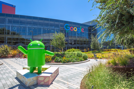 google chrome: Mountain View, California, USA - August 15, 2016: Android Nougat replica in front of Google office in Google headquarters building.