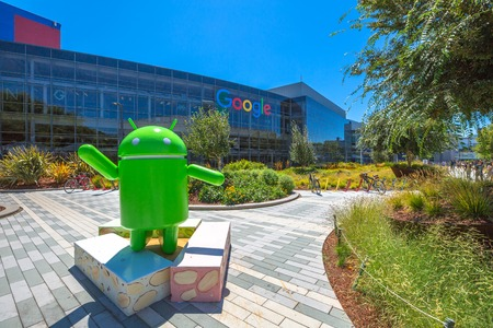 chrome: Mountain View, California, USA - August 15, 2016: Android Nougat replica in front of Google office in Google headquarters building.
