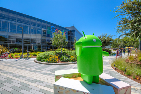 google chrome: Mountain View, California, USA - August 15, 2016: Android Nougat replica in front of Google headquarters building.