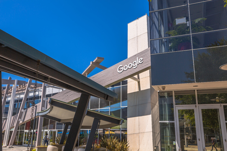 google chrome: Mountain View, CA, USA - August 15, 2016: close up of Google sign on one of the Google buildings. Google is an American multinational corporation specializing in Internet-related services and products Editorial