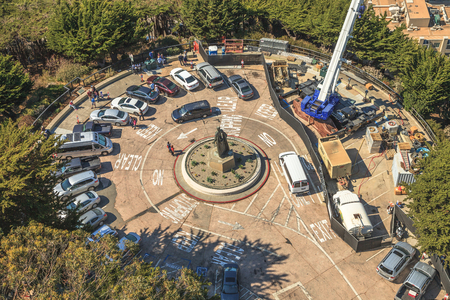 telegraph hill: San Francisco, California, United States - August 14, 2016: drone view of statue of Christopher Columbus from the top of Coit Tower and his parking.