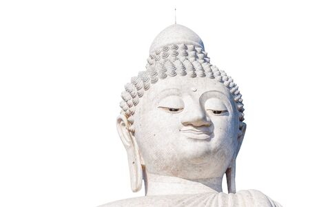 kata: Close up of the Big Buddha head, isolated on white background. Front view. Nakkerd hills in Ao Chalong, Phuket, Thailand.