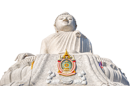 The Big Buddha isolated on white background, front view. Nakkerd hills in Ao Chalong, Phuket, Thailand. Phukets Big Buddha is one of the islands most important and revered landmarks on the island. Stock Photo