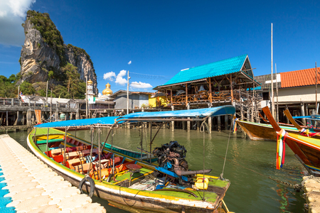 Historical floating Koh Panyi settlement, also known as Koh Panyee, muslim fishing village built on stilts of Phang Nga Bay, Krabi, Thailand. Editorial