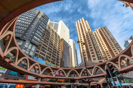 hong kong island: Hong Kong, China - December 6, 2016: characteristic skywalk between Pennington Street and Yee Wo Street in the famous luxury shopping district of Causeway Bay in Hong Kong Island.