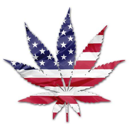 アメリカ合衆国国旗マリファナの葉図で白い背景に分離します。米国概念を合法化します。