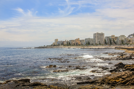 residential area: Panoramic view of Sea Point, one of Cape Towns most affluent and densely populated suburbs, located between Signal Hill and the Atlantic Ocean in South Africa. Stock Photo