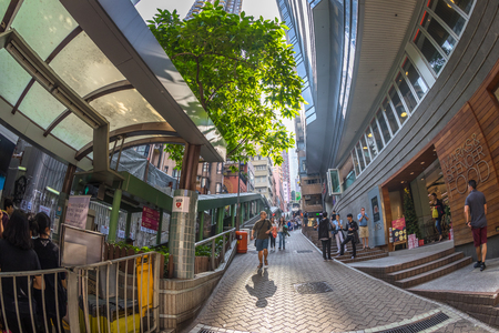 Hong Kong, China - December 4, 2016: Central-Mid-levels escalator, among Hollywood and Shelley St, Soho night-life district, is a system of escalators and walkways connecting Central to Western.
