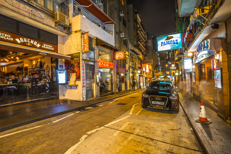 Hong Kong, China - December 10, 2016: La Pampa Argentinian Steak House in Elgin Street by night, famous road Soho district in Central Hong Kong, famous for bars, restaurants, clubs and nightlife.