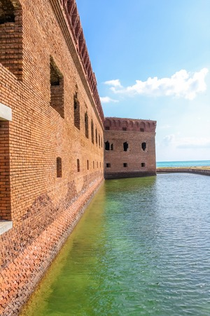 Fort Jefferson and its moat of sea water at Dry Tortugas National Park. Dry Tortugas is the National Park less visited of the United States because it is located 70 miles from Key West, Florida. Stock Photo