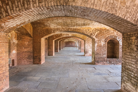 dry tortugas: A series of brick arches inside Fort Jefferson on Dry Tortugas National Park, Florida.