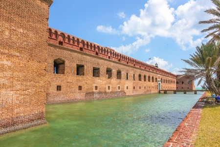 Fort Jefferson and its moat of sea water at Dry Tortugas National Park, Florida. The Dry Tortugas are a small group of islands, located in the Gulf of Mexico at the end of the Florida Keys. Stock Photo