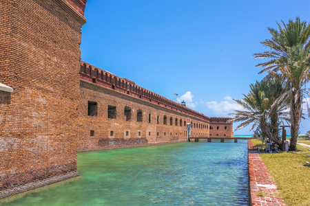 The entrance of Fort Jefferson, a historical military fortress, on Dry Tortugas National Park, Florida, United States. Fort Jefferson and its moat of sea water.