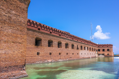 The walls of Historic Fort Jefferson in the Dry Tortugas National Park, Florida, United States.