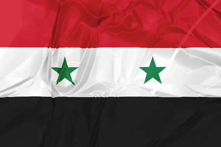 Syria National Arab Republic Flag rippled isolated on white background illustration. used by the Assad government Stock Photo
