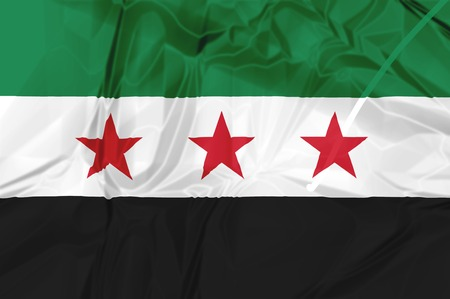 flag: Syria Independence National Coalition Flag, rippled isolated on white background illustration. Used by the Syrian National Coalition and Syrian Interim Government. Stock Photo