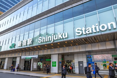 Tokyo, Japan - April 17, 2017: JR Shinjuku Station signboard of the south entrance of Shinjuku train station in Shinjuku District. Shinjuku is one of the largest train stations in Tokyo and Japan. Editöryel