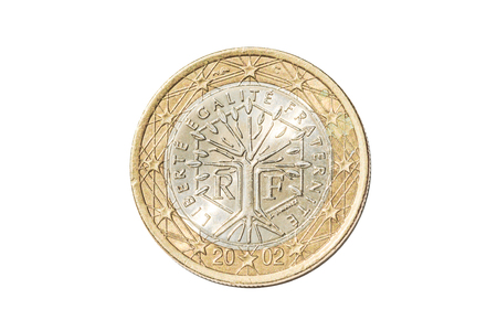 French Coin Of One Euro Closeup With Tree Symbol With The Motto