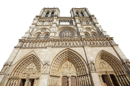 Bottom view of French Gothic architecture of Notre Dame cathedral of Paris, France. isolated on white background and copy space. Our Lady of Paris church. Central main facade. Stock Photo