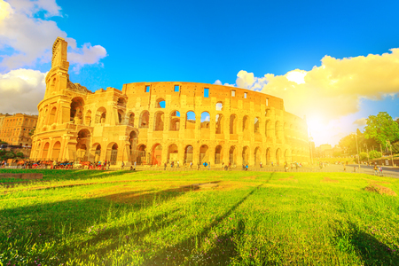 The Colosseo, Colosseum at sunset, Flavian Amphitheatre, is the largest amphitheater in the world and one of the symbols of Italy. Symbol of Rome, located in historical center, a Unesco Heritage Site.