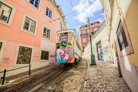 Lisbon, Portugal - August 26, 2017: Elevador da Gloria, the most famous funicular that connects the Restauradores Square to Bairro Alto,one of the viewpoints of Lisbon.Gloria funicolar is very popular