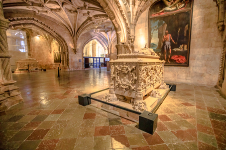 Lisbon, Portugal - August 26, 2017: Famous Tomb of Vasco da Gama in Jeronimos Monastery Church, Belem district. Vasco da Gama was a Portuguese explorer who traveled in India dubbing Cape of Good Hope. Editorial