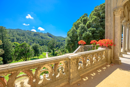 residential: Aerial view of botanical garden of Monserrate Palace on hill above Sintra, Portugal in beautiful sunny day. Palacio de Monserrate is the summer resort of the Portuguese court.