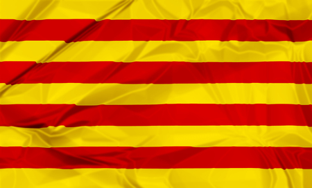 Waving flag of Catalonia of Spain, red and yellow stripes. 3d background.