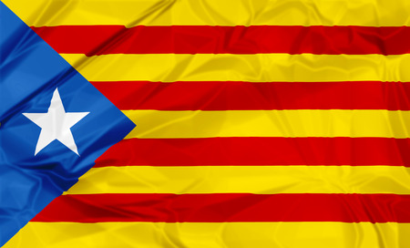 Waving Estelada Blava flag of Catalonia in Spain, or Eastern Catalan, red and yellow stripes with five pointed star in a triangle. Senyera estelada or starred flag or lion star flag. 3d background. Stock Photo
