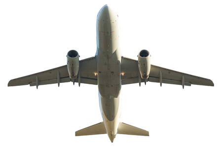 passenger jet airplane isolated on white background. from below bottom view. Stock Photo