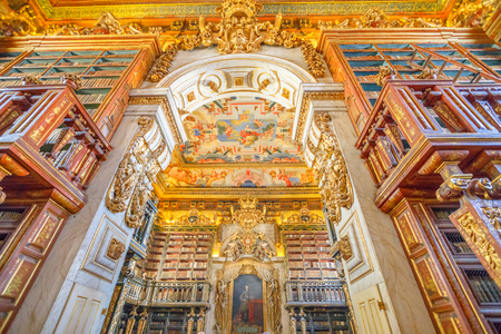 Coimbra, Portugal - August 14, 2017: University library in Coimbra, the Europes oldest university founded in 1290. Unesco World Heritage Site and most important tourist attraction in Upper Coimbra. Editorial