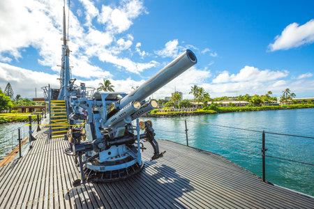 HONOLULU, OAHU, HAWAII, UNITED STATES - AUGUST 21, 2016: Submarine machine gun of the USS Bowfin SS-287 at Pearl Harbor memorial site. National historic and patriotic landmark.