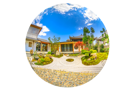 Kamakura, Japan - April 23, 2017: fish-eye view of zen garden in a sunny day inside Hase-Dera Shinto or Hase-kannon. Circle panorama of buddhist temple background. Concept of meditation and peace. Editorial