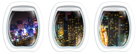 Three porthole frame windows aerial view over Tokyo cityscape and Shiodome skyscrapers and business offices view from Tokyo World Trade Center at night, Tokyo, Japan. Stock Photo