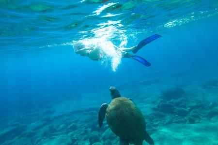Woman bikini swims encountering sea turtle Caretta in crystal waters of Foneas Beach, Mani peninsula, Greece. Watersport activity. Summer holidays. Snorkeler female apnea with mask and fins enjoying.