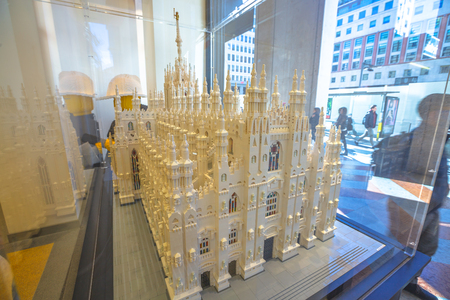MILAN, ITALY- MARCH 7, 2017: the model in Lego bricks of the Famous Duomo di Milano Cathedral. In Lego store window of Piazza San Babila square.