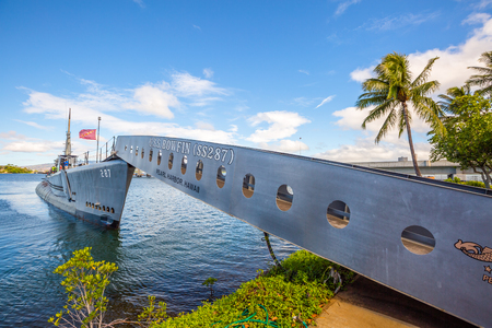HONOLULU, OAHU, HAWAII, USA - AUGUST 21, 2016: the USS Bowfin Submarine SS-287. Pearl Harbor historic landmark, National historic and patriotic landmark memorial of the Japanese attack in WW II.