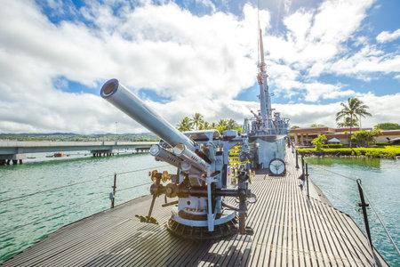 HONOLULU, OAHU, HAWAII, UNITED STATES - AUGUST 21, 2016: machine gun of the USS Bowfin Submarine SS-287 at Pearl Harbor memorial site. National historic and patriotic landmark.