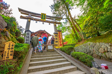 Kyoto, Japan - April 24, 2017: Torii of Jishu-jinja, a matchmaking shrine in Kiyomizu-dera. Jishu Jinja is a temple dedicated at god of love and is a part of the Historic Monuments of Ancient Kyoto.