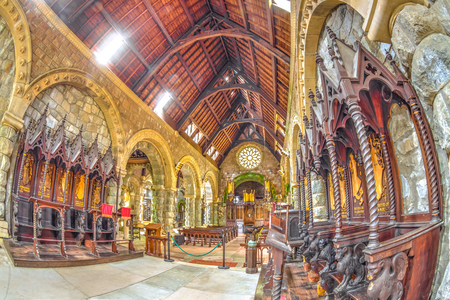 Argyll, Scottish highlands, United Kingdom - June 1, 2015: close up of the chancel hall in Saint Conans Kirk church. Main nave on background. Editorial