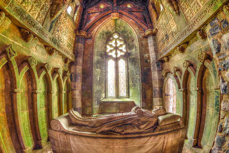Argyll, Scotland, United Kingdom - June 1, 2015: St Convals chapel of green marble inside the Saint Conans Kirk church. memorial to Walter Douglas Campbell who built the church.