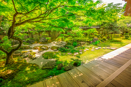 Traditional zen garden in spring season. Eikan-do Temple or Zenrin-ji belongs to the Jodo sect of Japanese Buddhism. Eikando is a popular landmark and Zen Temple in Kyoto, Japan. Reklamní fotografie