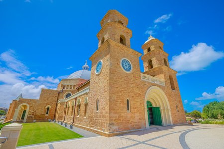 Perspective view of St. Francis Xaviers Cathedral with Twin Towers and the Dome on Cathedral Ave in Geraldton, Western Australia.The Cathedral is the most important Catholic church in the city. Stock Photo