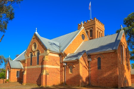 Victorian Romanesque style Holy Trinity Anglican Church completed in 1854 in York, a popular tourist town east of Perth, Avon Valley.York is the oldest and first inland settlement in Western Australia Stock Photo
