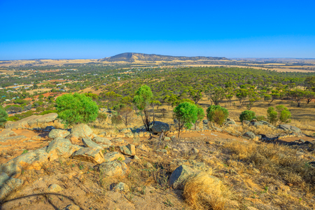 Summit of Mount Brown in York lookout, a popular place in Avon Valley, Western Australia. Mount Brown is down to the townsite of York the oldest inland settlement in Western Australia. Stock Photo