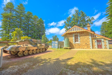 Esperance, Australia - Dec 26, 2017: Leopard Tank near War Memorial and RSL building on Dempster Street in Esperance, Western Australia.